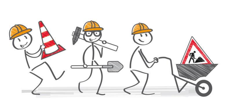 Baustelle; Bauarbeiter; bauen; handwerk; handwerker; helm; Tiefbau; Hinweis; Baustellenschild, Bauleiter; Bauzeit; eigenheim; Finanzierung; Straßenbau; hausbau; Planung; Achtung; Absperrung; Schild, Bauordnung; bauherren; bauherr; Baugenehmigung; bauplatz; Gewerke; einfamilienhaus; tragend; Großbaustelle; Maurer; Heimwerker; Schubkarre; Straßenbauarbeiten; sanieren; sanierung; schutzhelm; Strichmännchen; Bausparen; Eigenleistung; vektor; Straßenverkehr; Tiefbauamt